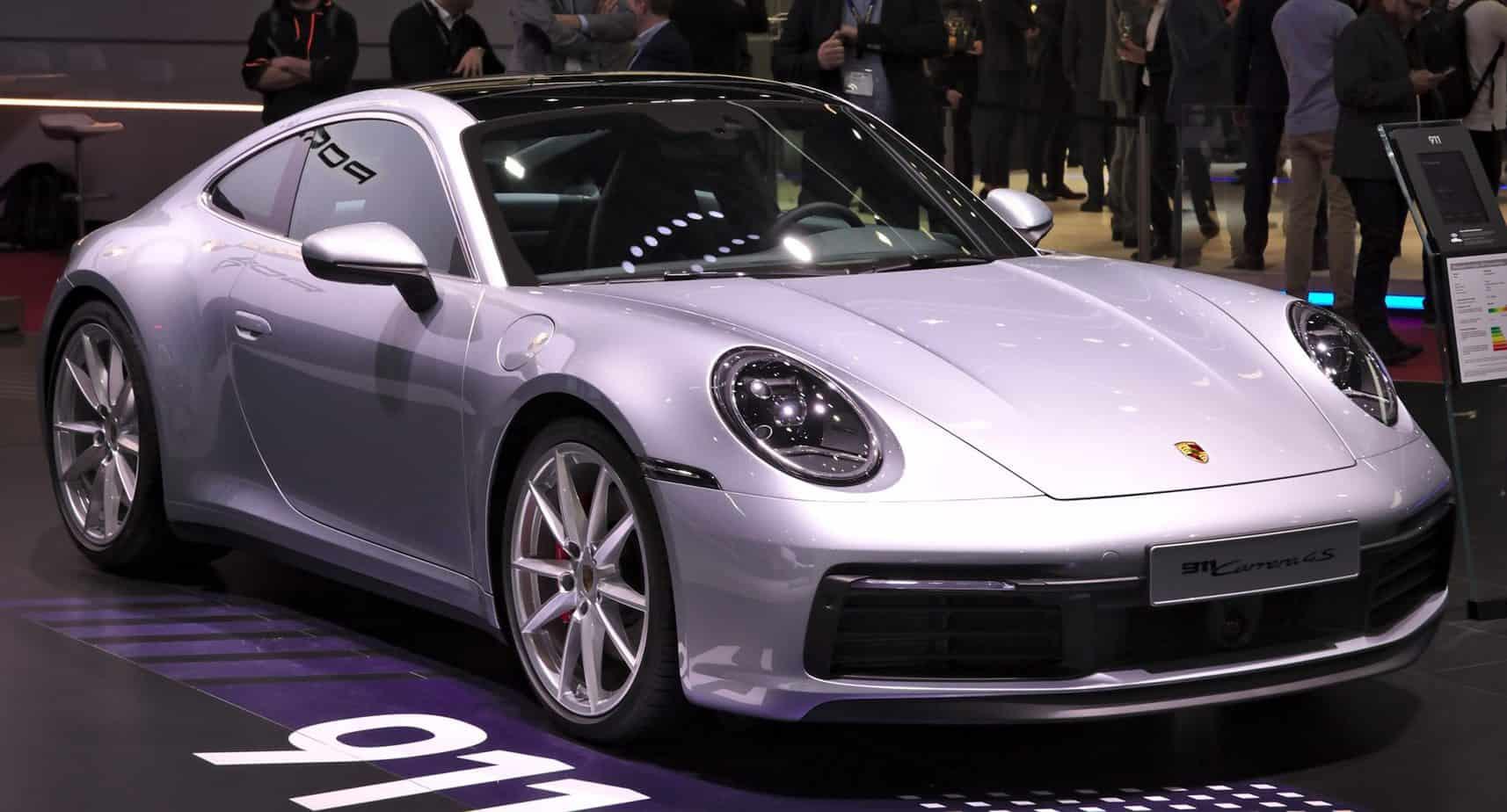 close up of luxury German Porsche in showroom